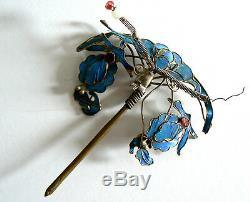 Grand Dynastie Qing Kingfisher Plume Épingle À Cheveux Antique Chinois Tian-19 Tsui