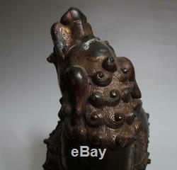Grand Encens Bronze Chinois Antique Brûleur Sculpté Kylin