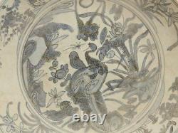 Grand Épave Chinoise Antique Bleu Et Blanc Oiseau Plat 17 C