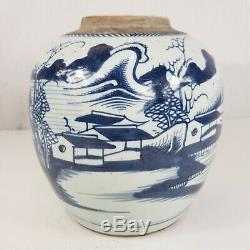 Grand Et Antique Chinois Bleu Blanc Gingembre Pot Avec Paysage Peint 22cm Haut