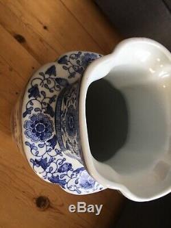Grand Et Bleu Chinois Vase Blanc 50cm Marqué