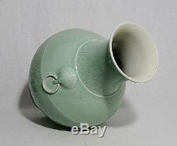 Grand Glaze Vase En Porcelaine Vert Monochrome Chinois M1121