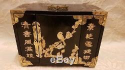 Grand Laiton Antique Chinois Bound 4 Tiroirs Boîte À Bijoux En Nacre