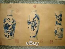 Grand Long Vieux Rouleau De Peinture Chinoise Main Vases Langshining Marques