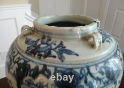 Grand Navire Bleu Et Blanc De Dynastie De Ming Chine 17ème Siècle Ou Plus Tôt