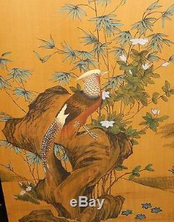 Grand Oiseau Floral Panneau De Soie Aquarelle Peinture Chinoise Signée