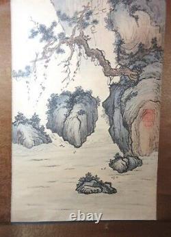 Grand Original Antique Signé Chinois Aquarelle Paysage Scroll Peinture Art