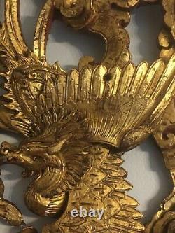 Grand Panneau Chinois Très Sculpté En Bois De Gilt Fragment Partielle Phoenix