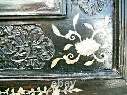 Grand Panneau Mural Sculpté Et Incrusté Chinois Antique