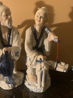 Grand Pêcheur Chinois Couples Bleu Statues De Figurine Blanche De Porcelaine Roc
