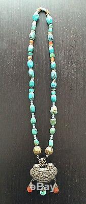 Grand Pendentif Fine Argent Antique Chinois Pendentif Turquoise Pépite Agate Perlé