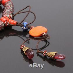 Grand & Perfect Antique Chinois De Pékin Perles De Verre Bracelet Dynastie Qing