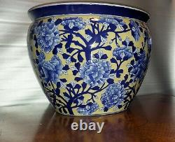 Grand Planteur Chinois Antique De Porcelaine Jardiniere Fish Bowl Pivoies Blanches Bleues