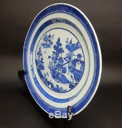 Grand Plateau Antique Canton Chinois Bleu Et Blanc Du 19e Siècle 18 Pouces