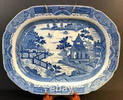 Grand Plateau De Viande Staffordshire Blue Willow Transferware Avec Puits 18 1/2 C1820