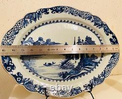 Grand Plateau Qing Chinois Bleu Et Blanc 15x12 Pouces
