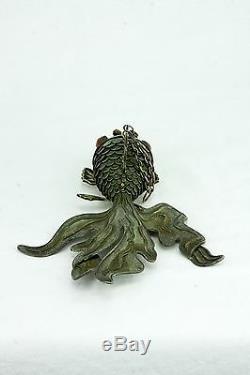 Grand Poisson Koi Articulé Vert Argenté Antique Chinois Émaillé