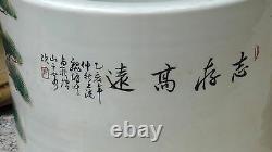 Grand Porte-brosse En Porcelaine Chinois Antique Avecenamel Représentant Bouddha Riant