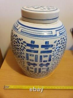 Grand Pot De Gingembre Marqué Bleu Et Blanc Chinois Antique