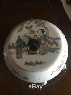 Grand Pot De Roses De Famille Famille En Porcelaine Antique Du Xixe Siècle, Époque Tongzhi
