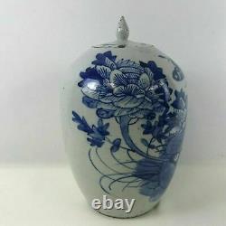 Grand Pot Décoré Bleu Porcelaine Chinoise Du 19ème Siècle