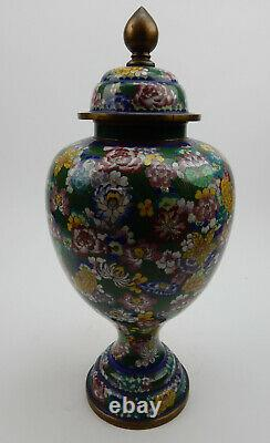 Grand Pot Lidded Antique Chinois De Cloisonne Au Début Du 19ème Siècle