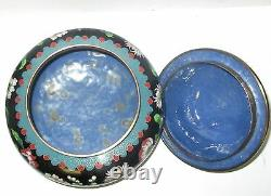 Grand Rare Chinese Cloisonne Black Enamel Floral Jar Bowl Box