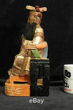 Grand Rare Rare Empereur De Temple De Jade, Yu Huang Dadi Doré Sculpté À La Main