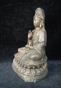 Grand Rare Vieux Bronze Chinois Guanyin Bouddha Siège Statue Sculpture