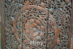Grand Style Asiatique Main En Bois Sculpté 3 Section Suspendus Panneaux Muraux