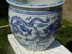 Grand Superbe Porcelaine Chinoise Fish Bowl Planter Peintes À La Main Dragons D 40,5 CM