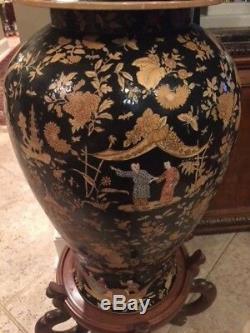 Grand Temple Noir Porcelaine Chinoise Urne 37 De Haut