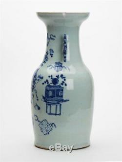 Grand Vase Antique Chinois Céladon Bleu & Blanc 19ème