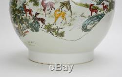 Grand Vase En Porcelaine De Chine De Marque Rose Famille 100 Fencai, Forme Haute