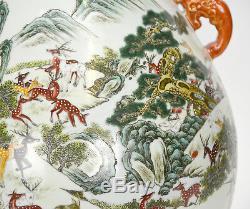 Grand Vase En Porcelaine De Chine De Marque Rose, Famille Rose 100