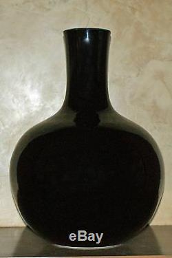 Grand Vase Tianqiuping En Porcelaine De Chine, Émaillé Noir, Fin Du Xixe Siècle, Fin De La Dynastie Qing