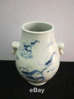 Grand Vases En Porcelaine Crevettes Chinois Incroyable Bouteille De Sculpture À La Main Marques Guangxu