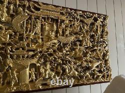 Grand Vieux Carve Chinois Et Panneau De Scène De Bataille De Guerriers Dorés 52 Pouces
