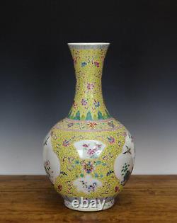 Grand Vieux Chinois Qing Famille Rose Peint Vase En Porcelaine Jaune Moulu