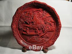 Grand Vintage 9.5 / Antique Chinois Plate Sculpté Cinnabar Laque Romantique Ex ++