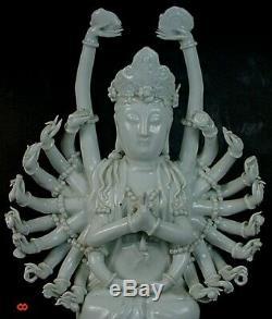 Grand Vintage Chinois Blanc De Chine Porcelaine Multibras Guanyin Figurine