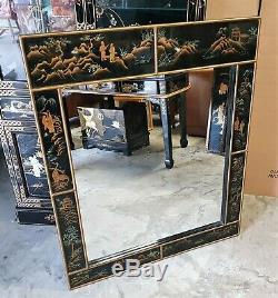Grand Vintage Chinois Laque Noire Framed Wall Mirror Disponible Livraison