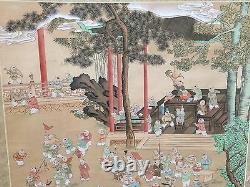 Grand Vintage Chinois Mur Suspendu Parchemin Main Peint 100 Garçons Sur La Soie, Signé