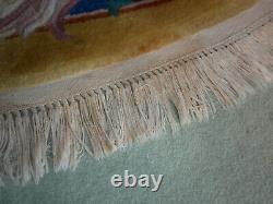 Grand Vintage Circular/round Oriental Rug Carpet 9ft De L'autre Côté