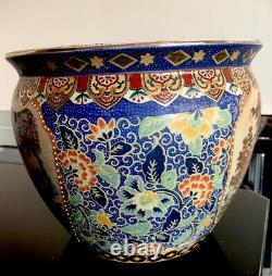 Grand Vintage Palatial Chinois Art Satsuma Style Koi Fish Bowl Porcelaine Planter
