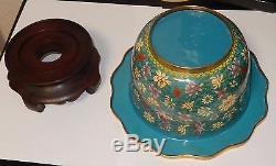 Grand Vintage Pot En Émail Cloisonné Avec Support En Bois