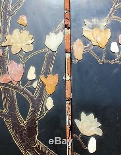 Grand Vintage Six Panneaux Chinois Hardstone Écran