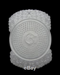 Grand Vintage Très Sculpté Chinois Hetian Jade Blanc Suspendu Pendentif Plaque