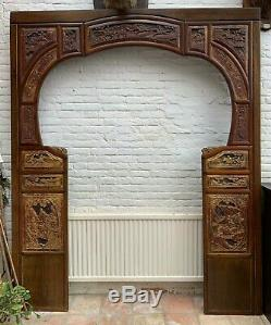 Grand Vintage Vieux Chinois Sculpté Bois Archway Doorway Décorateur D'intérieur