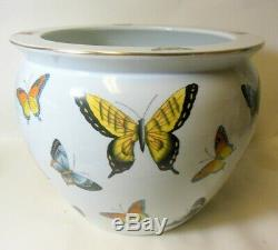 Grand Vtg Porcelaine Chinoise Pot Jardinière Bowl Vase Planter Papillons